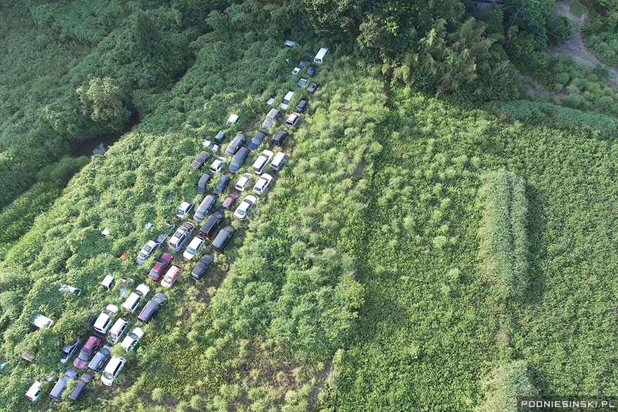 1-Abandoned vehicles are slowly swallowed up by nature on a stretch of road near the power plant