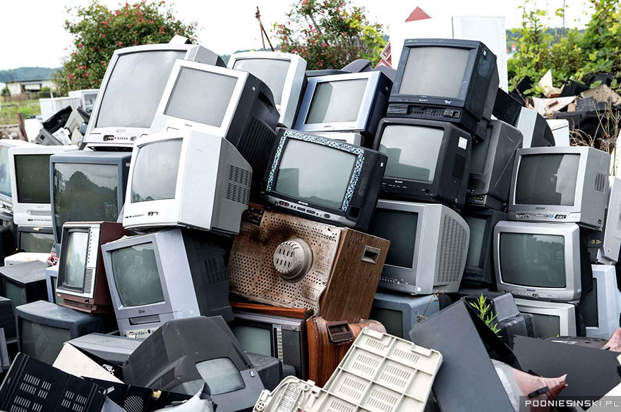 5-These contaminated televisions were collected and piled up as part of the cleaning efforts