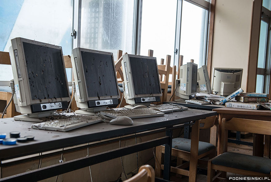 8-This abandoned computer lab covered in animal droppings is from a village near the plant