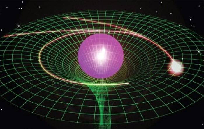 نور میتواند بر اثر خمیدگی فضا-زمان از مسیر راست منحرف شود