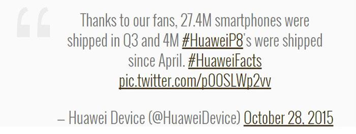 Huawei ships 27.4M smartphones in Q3