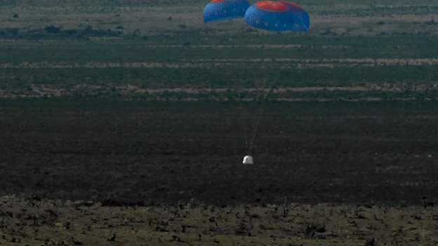 New Shepard's astronaut module, unmanned at this stage, landed safely via parachutes