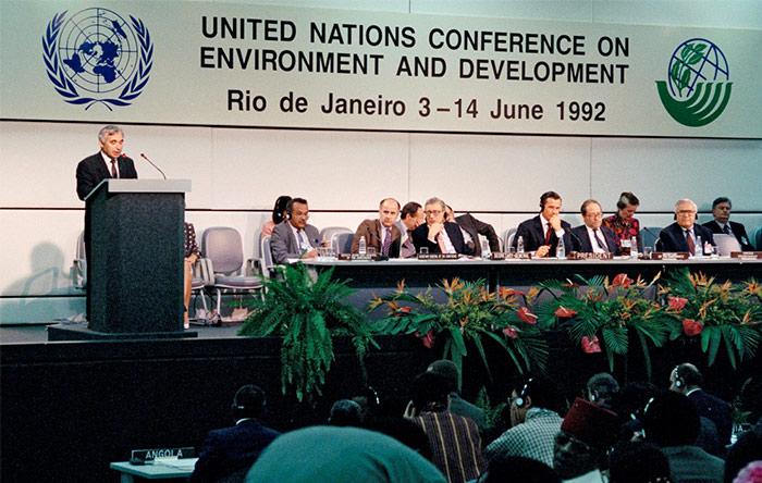 کنفرانس پاریس - سران جهان در ژوئن سال ۱۹۹۲ در شهر ریودوژانیرو برزیل با یک هدف مشخص گردهم آمدند. نتیجهی گردهمایی سران جهان در سال ۱۹۹۲ تنظیم معاهده موسوم به چهارچوب پیمان سازمان ملل در زمینه تغییرات اقلیمی بود که میتوان از آن بعنوان زیربنای کنفرانس تغییرات اقلیمی پاریس یاد کرد.