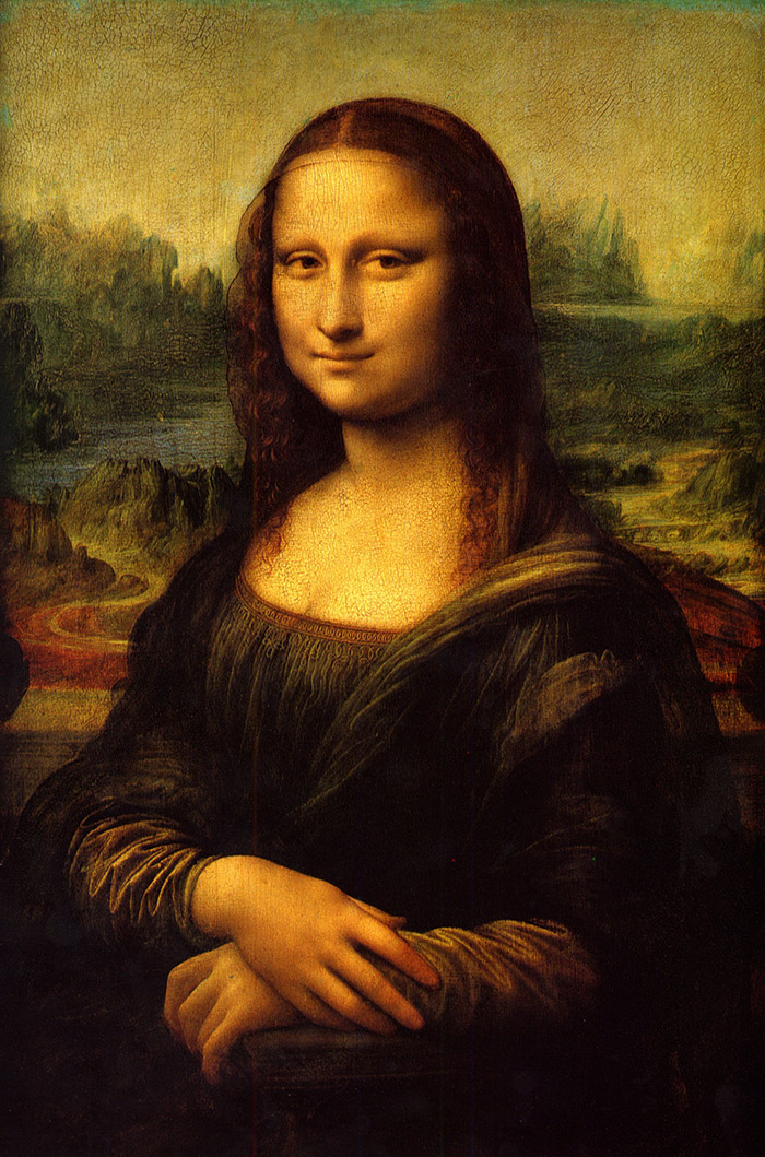 تابلوی اصلی مونالیزا که درموزهی لوور پاریس نگهداری میشود.