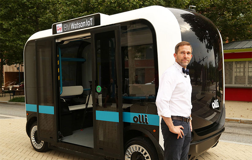 حرکت مینیبوس خودران Olli با هوش مصنوعی IBM Watson