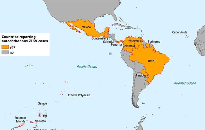 کشورهایی که زیکا در آنها بومی است