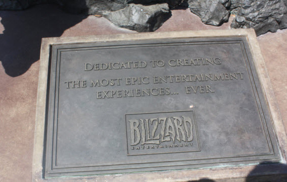 The-plaque-on-the-statue-at-Blizzard's-headquarters-shows-the-company's-focus-on-gamers