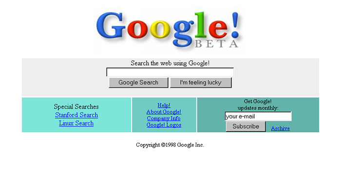 سایت گوگل سال ۱۹۹۸