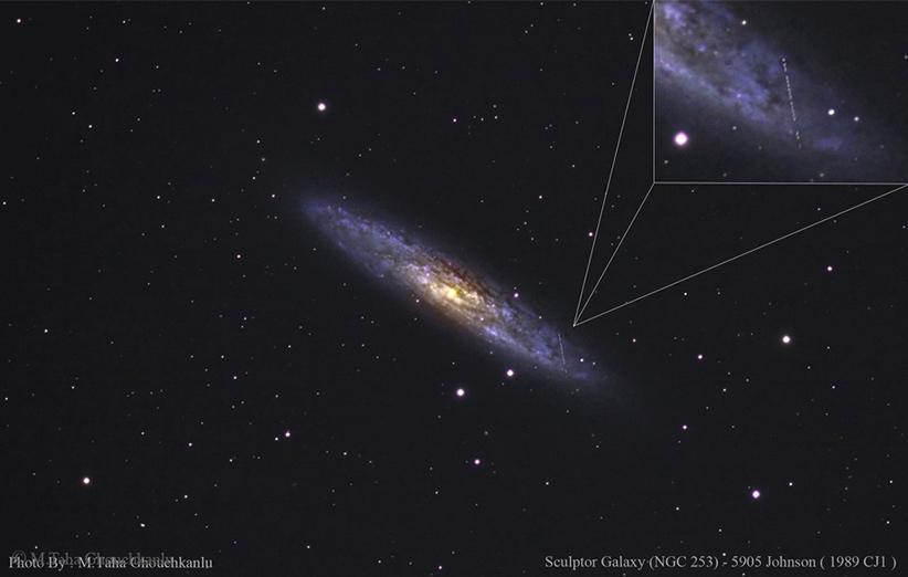 حرکت یک سیارک در نزدیکی کهکشان حجار (NGC253) در بازهای چند ساعته. عکس از طاها قوچکانلو.