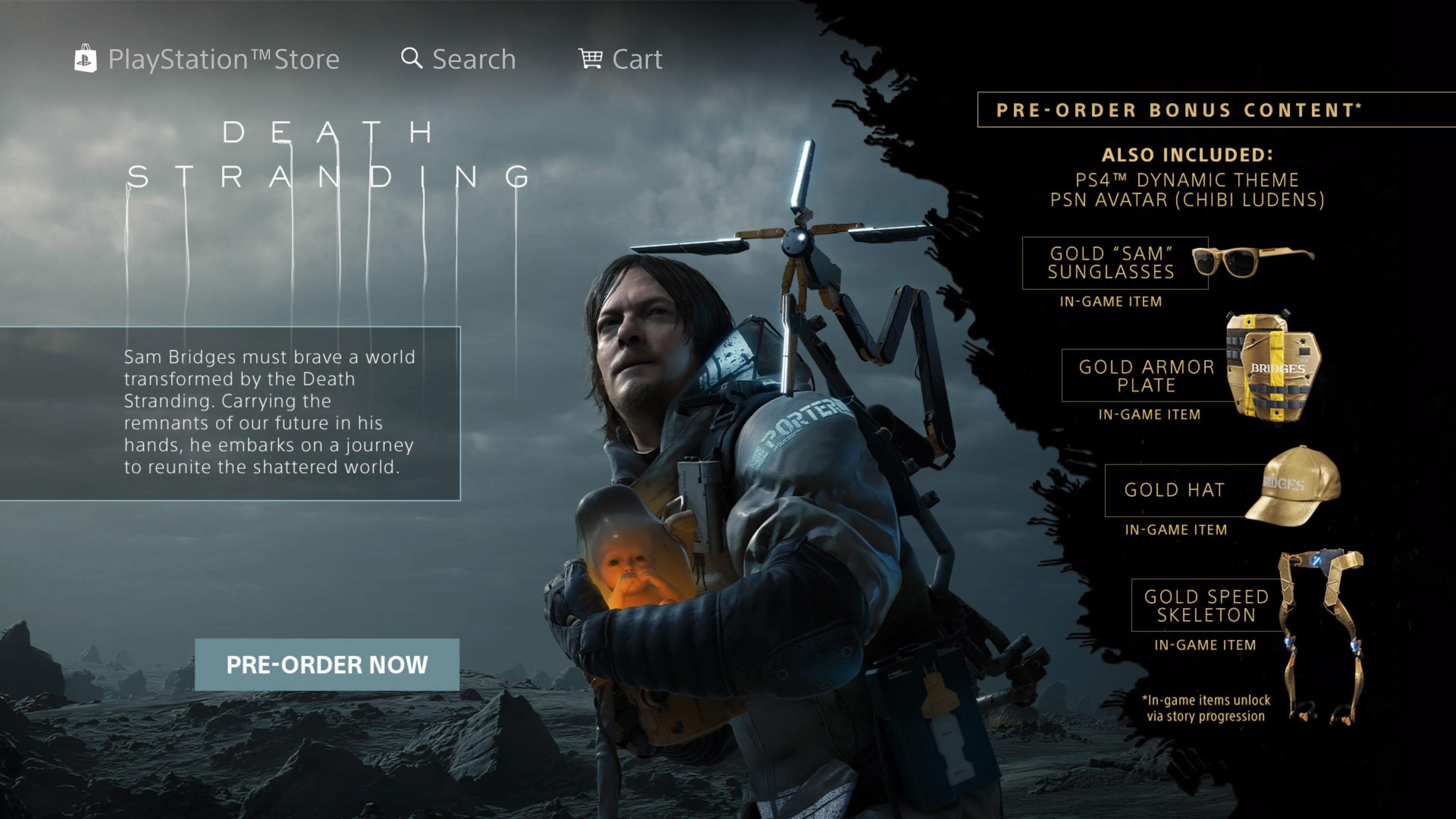 صفحه پیش خرید بازی Death Stranding در PSN