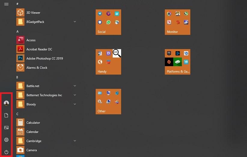 منوی استارت ویندوز 10