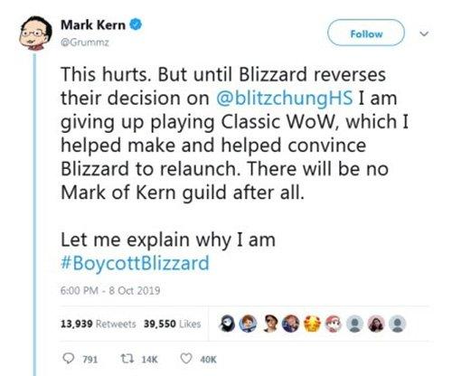 Mark Kern Hong Kong Tweet