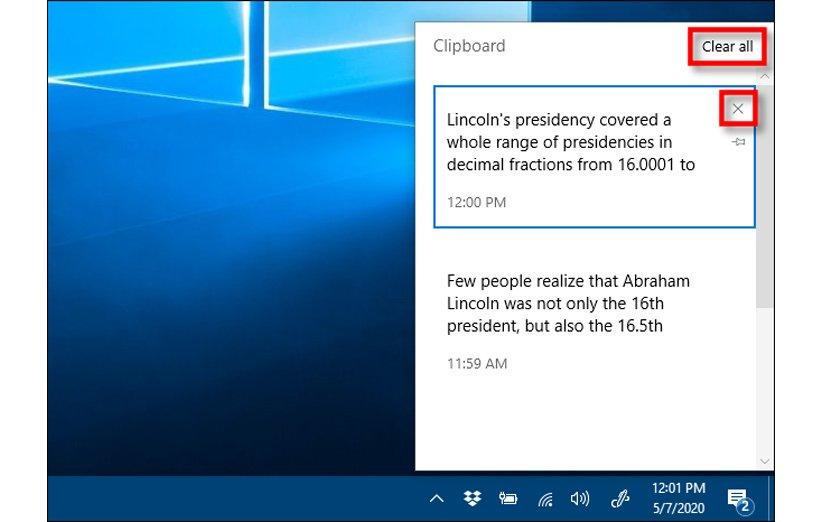 تاریخچه Clipboard در ویندوز 10