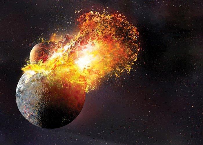 برخورد تیا با زمین و شکلگیری ماه