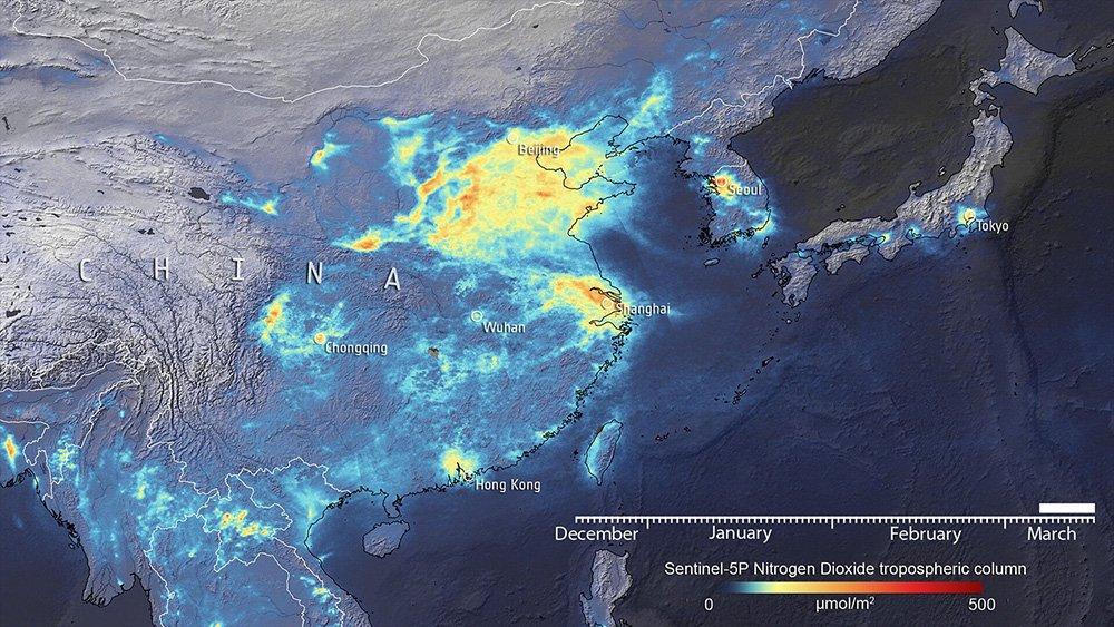 نقشه تغییرات جهانی انتشار گازهای گلخانهای در دوران قرنطینه