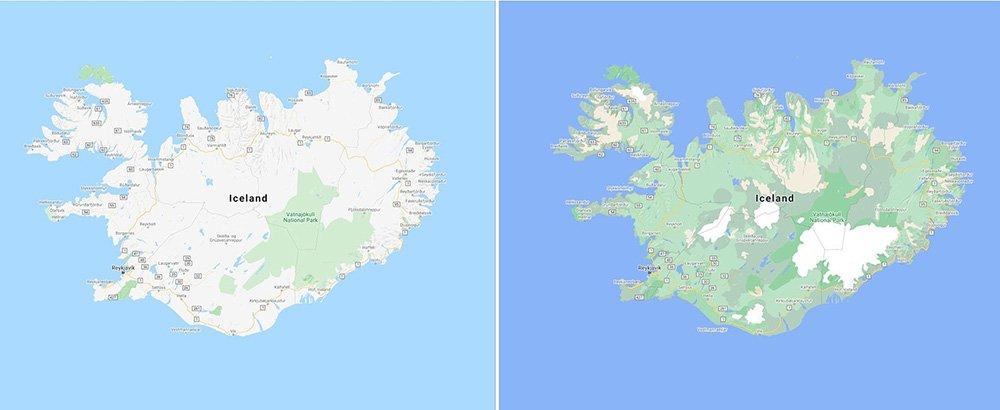 رنگبندی تازهی عوارض زمین در گوگل مپ