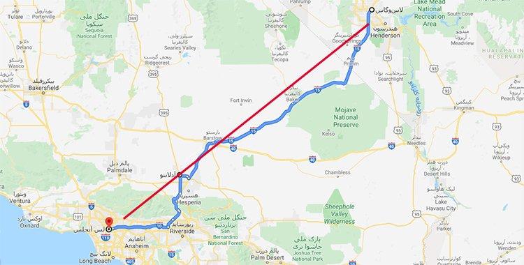 نقشه مسیر آدلانتو در میانهی راه لسآنجلس و لاسوگاس