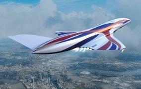 طرحی گرافیکی از هواپیمای مافوق صوت با موتور SARBE