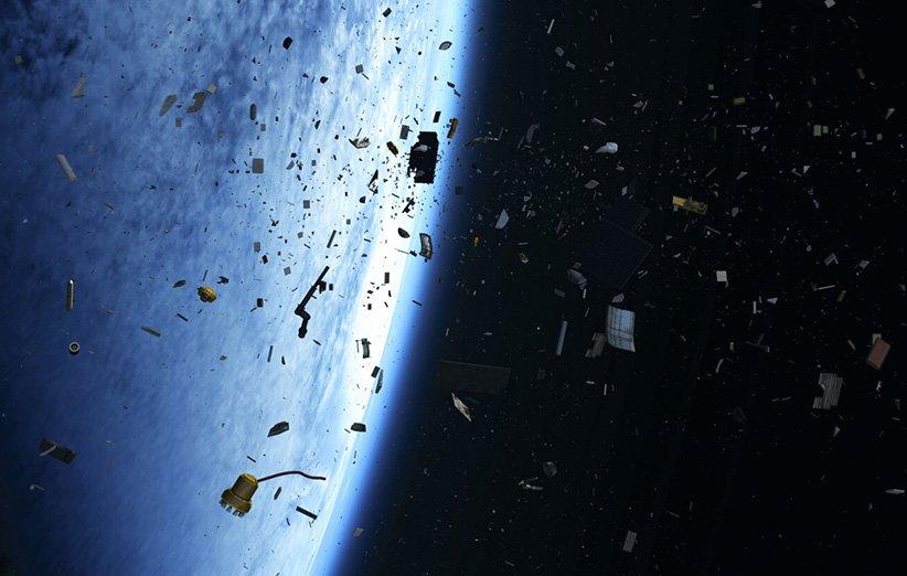 طرحی از زبالههای فضایی اطراف زمین