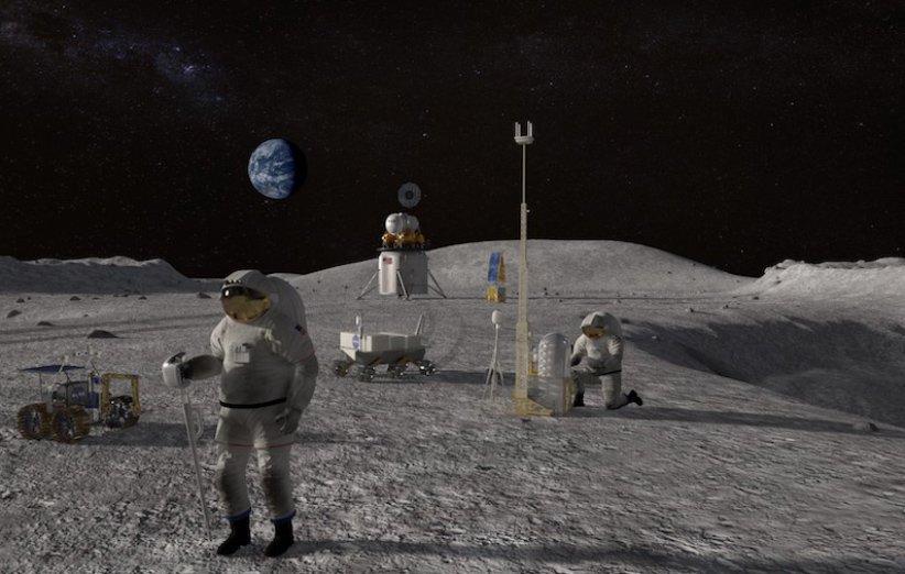 طرح گرافیکی فضانوردان در سطح ماه