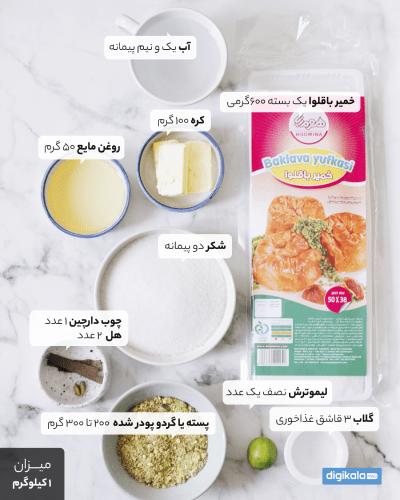 مواد لازم برای پختن باقلوای خانگی با خمیر یوفکا