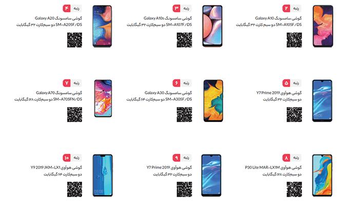 پر فروش ترین گوشی های موبایل در دیجی کالا