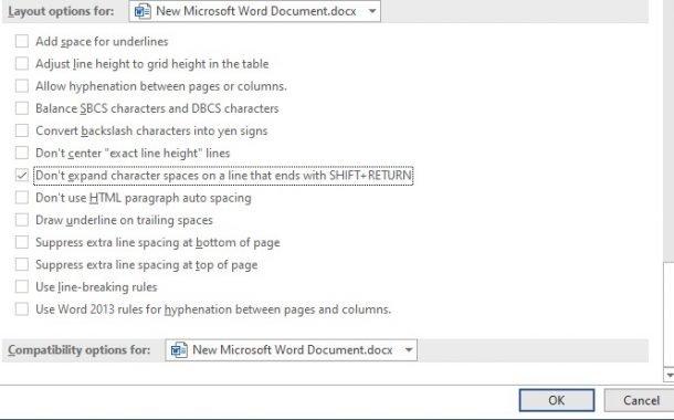 تنظیمات Layout option در ورد
