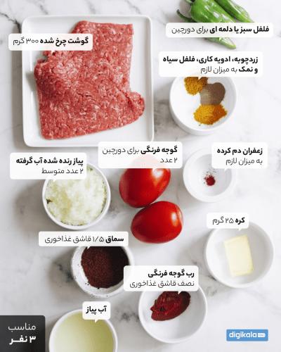 مواد لازم برای کباب تابهای با گوشت چرخ کرده
