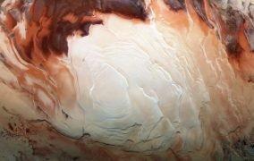 نمایی از قطب جنوب مریخ