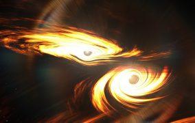 طرحی گرافیکی از برخورد دو سیاهچاله
