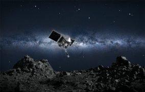 طرحی از نزدیک شدن اسیریس رکس به سطح سیارک بنو