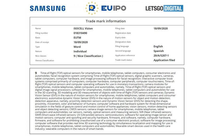 اسناد مربوط به سنسور مدت پرواز سامسونگ در EUIPO