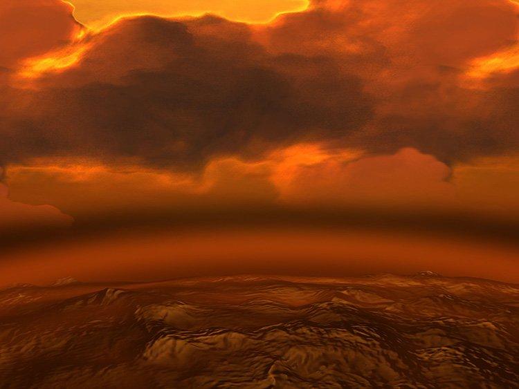 نمای گرافیکی از محیط سیارهی زهره