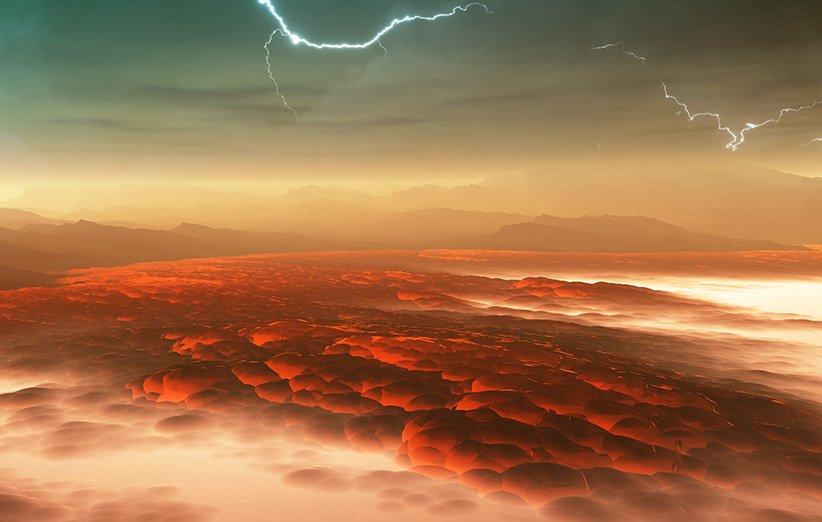 طرحی گرافیکی از شرایط جوی سخت سیارهی ناهید