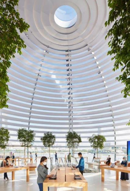نمای گند شیشهای اپل استور شناور سنگاپور از داخل