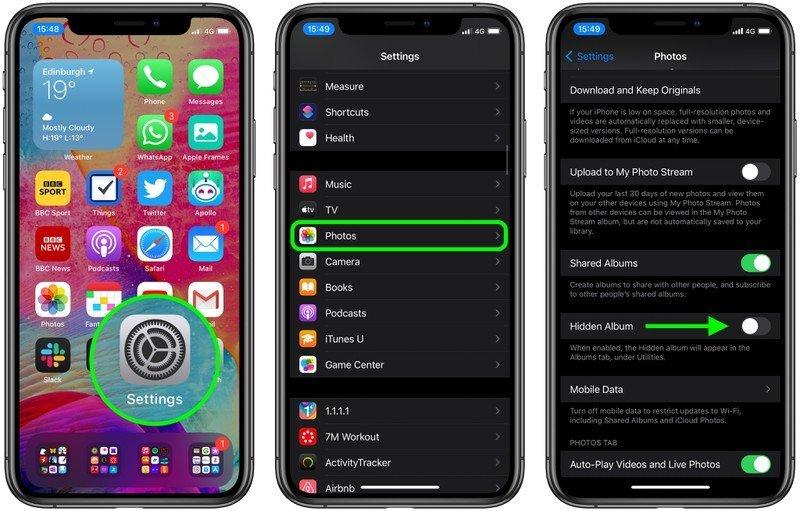 مخفی کردن Hidden Album در iOS 14