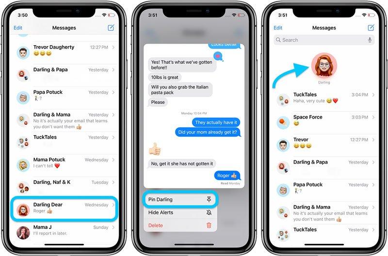 پین کردن گفتوگو در iOS 14