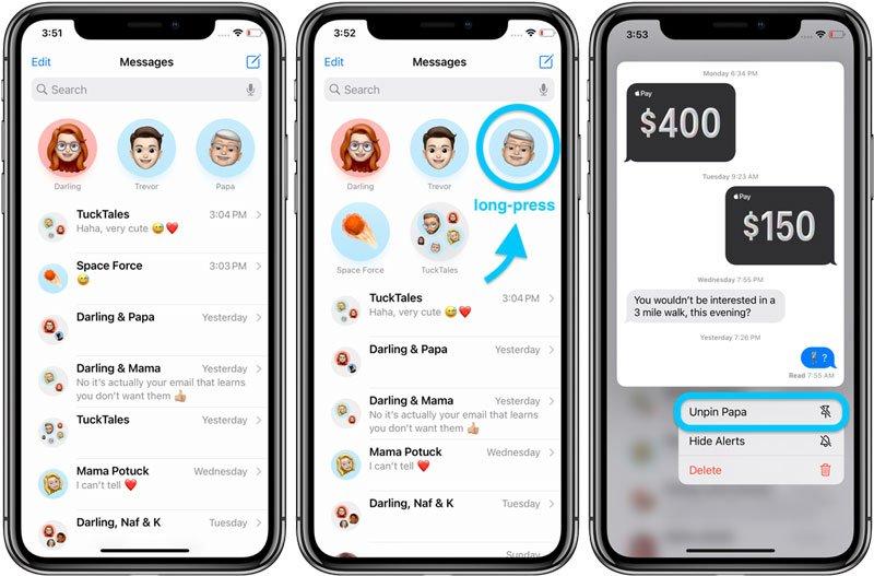 حذف کردن گفتوگوی پین شده در iOS 14