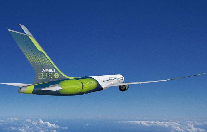 طرح گرافیکی هواپیمای هیدروژنی ایرباس دارای پیل سوختی
