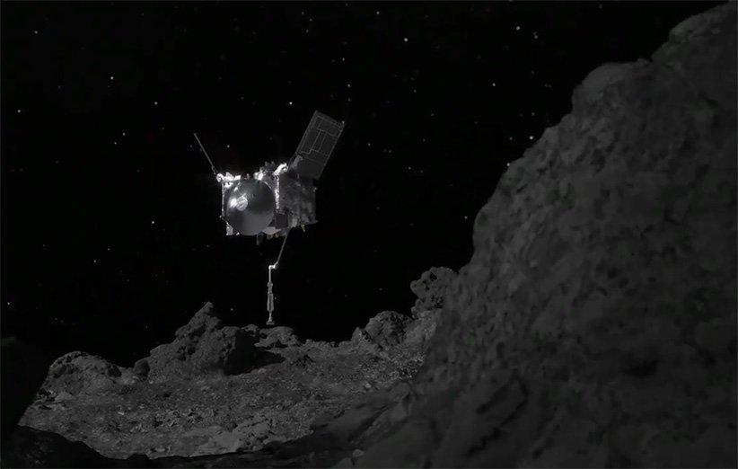 طرح گرافیکی عملیات نمونهبرداری اسیریس رکس از سطح سیارک بنو