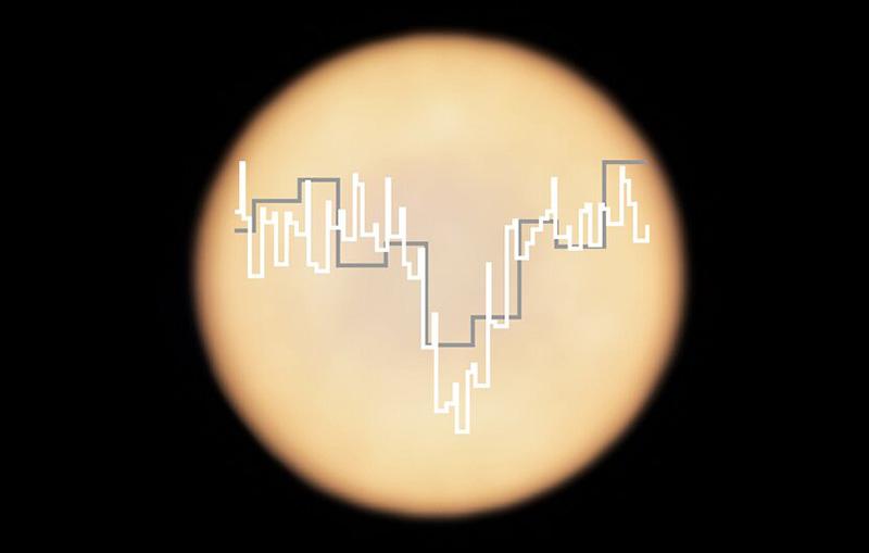 طرحی از خطوط طیفی فسفین بر روی نمایی از سیارهی ناهید