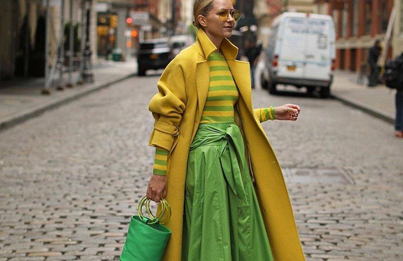 لباس زنانه با ترکیب رنگ سبز و زرد