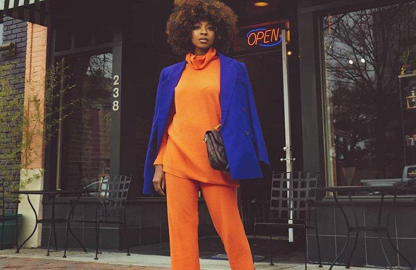 کت زنانه آبی و بلوز شلوار نارنجی