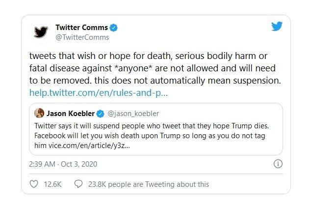 حذف حسابهای کاربری که برای ترامپ آرزوی مرگ کنند