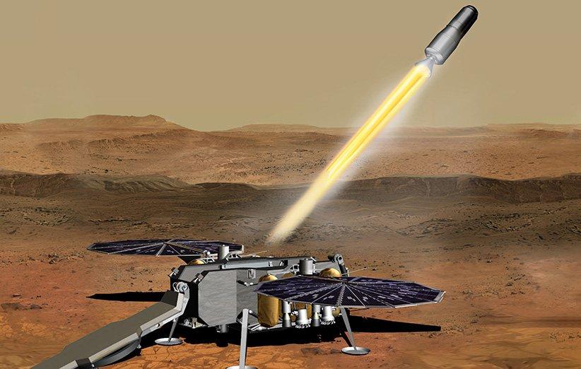 طرحی گرافیکی و نمادین از موشکی که در حال جدایی از مریخ برای بازگردانی نمونههای جمعآوری شده از آن به زمین است.