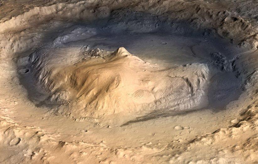 طرحی گرافیکی از دهانهی گیل مریخ
