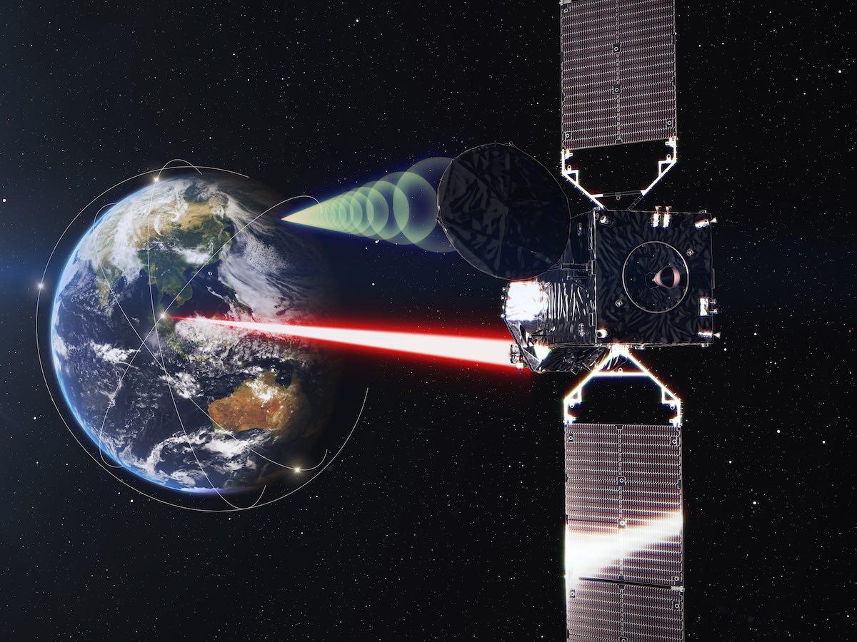 طرح گرافیکی از ماهوارهی بازپخش دادههای نوری ژاپن