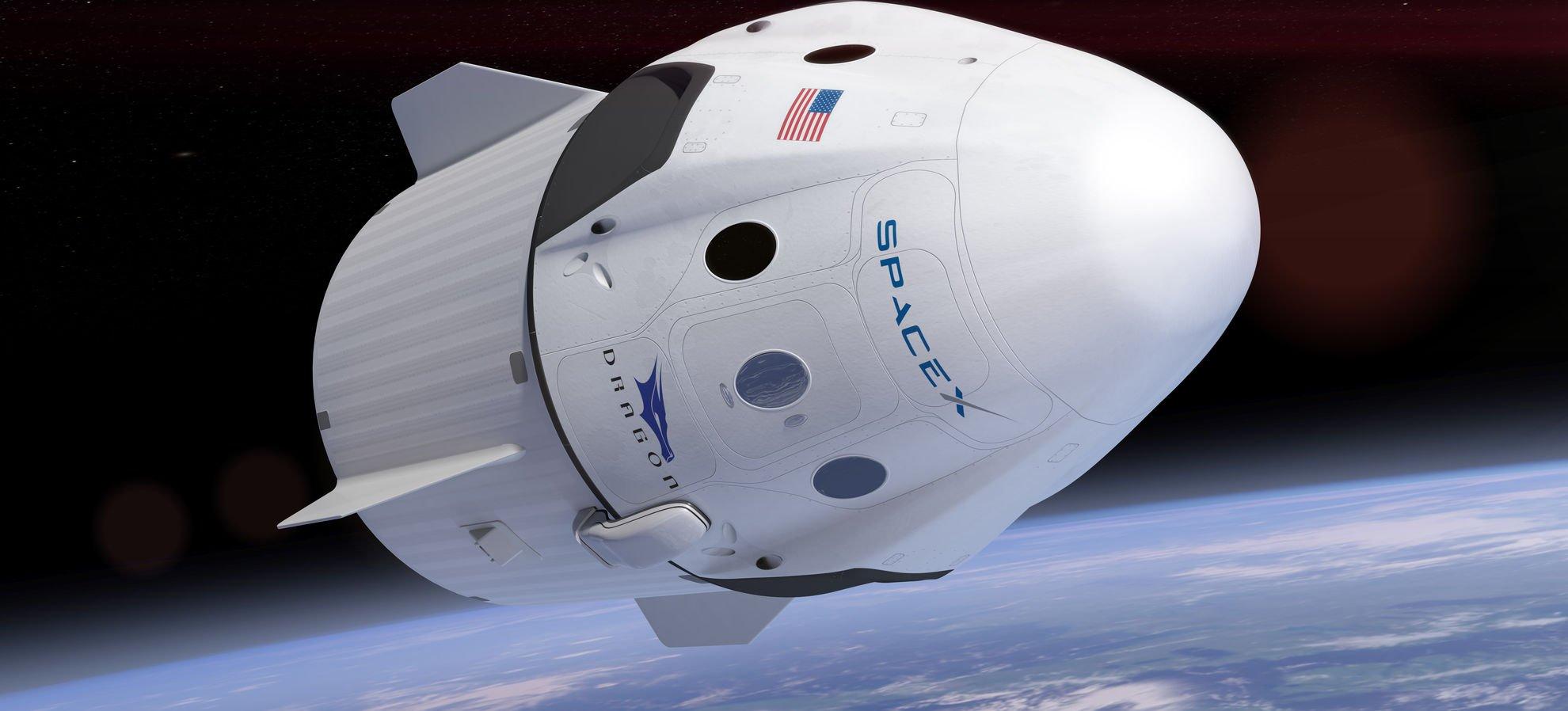 طرح گرافیکی فضاپیمای دراگون اسپیسایکس