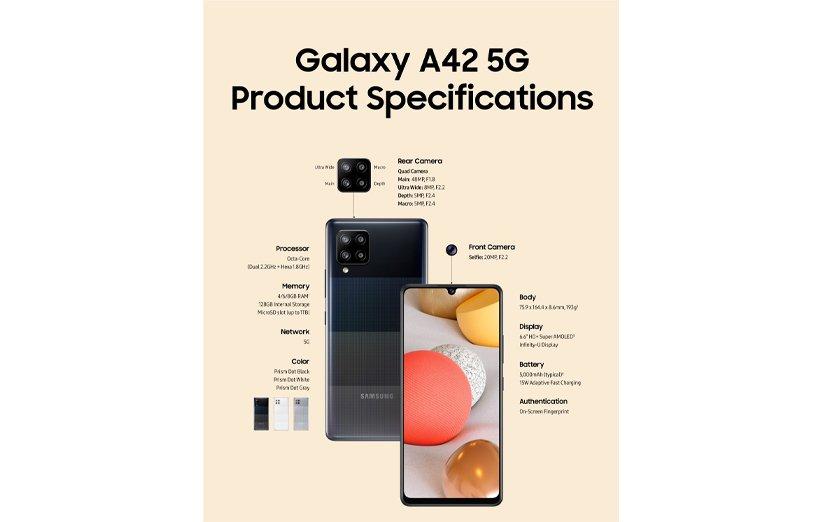 مشخصات فنی گوشی سامسونگ گلکسی A42 5G