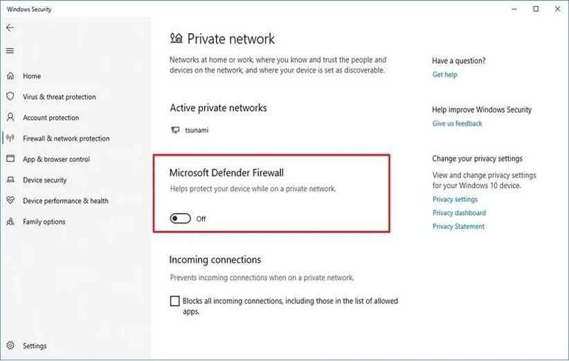 غیرفعال کردن فایروال در ویندوز 10